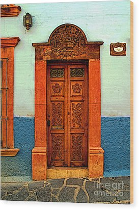 Embellished Puerta Wood Print by Mexicolors Art Photography