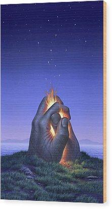 Embers Turn To Stars Wood Print by Jerry LoFaro