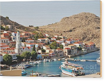 Emborio Village On Halki Wood Print