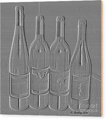 Embossed Wine Bottles Wood Print