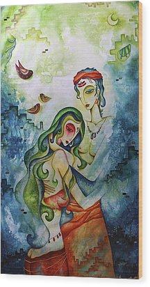Embracing Love Wood Print by Rohan Sandhir