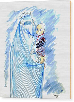 Embroidered Blue Lady-cage -- Woman In Burka Wood Print