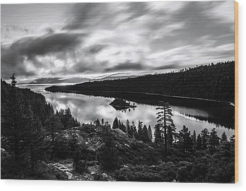 Wood Print featuring the photograph Emerald Bay Black And White by Brad Scott