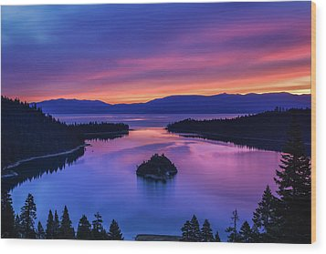 Emerald Bay Clouds At Sunrise Wood Print
