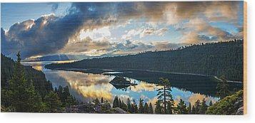 Wood Print featuring the photograph Emerald Bay Sunrise Rays by Brad Scott