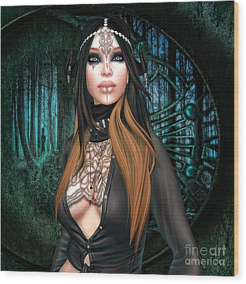 Emerald Cabachon Wood Print