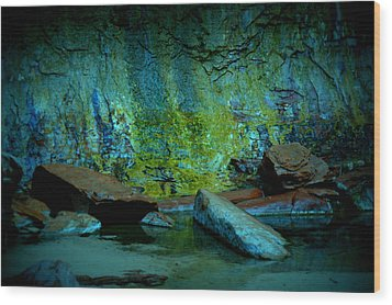 Emerald Cave Wood Print by Nature Macabre Photography