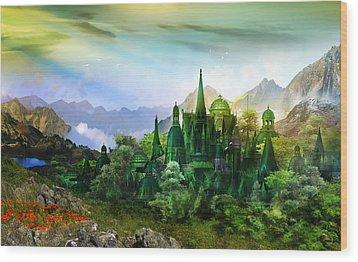 Emerald City Wood Print by Mary Hood
