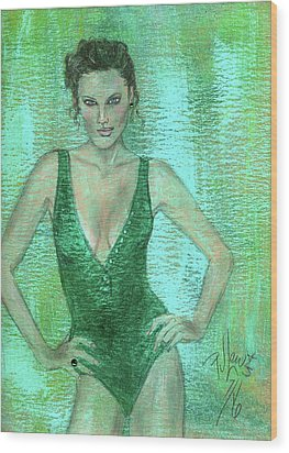 Wood Print featuring the painting Emerald Greem by P J Lewis