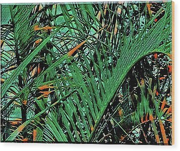 Wood Print featuring the digital art Emerald Palms by Mindy Newman