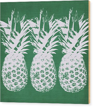 Wood Print featuring the mixed media Emerald Pineapples- Art By Linda Woods by Linda Woods