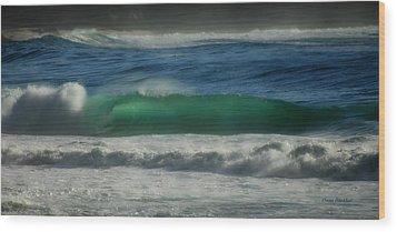 Emerald Sea Wood Print by Donna Blackhall