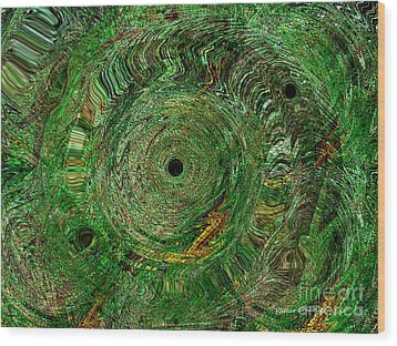 Emerald Swirls Wood Print by Kathie Chicoine