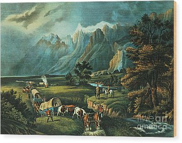 Emigrants Crossing The Plains Wood Print by Currier and Ives