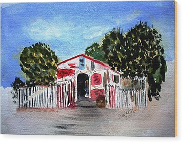 Wood Print featuring the painting Emiles Road Side Grocer by Donna Walsh