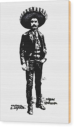 Wood Print featuring the drawing Emiliano Zapata by Antonio Romero
