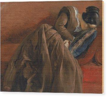 Emilie The Artist's Sister Asleep Wood Print by Adolph Friedrich Erdmann von Menzel