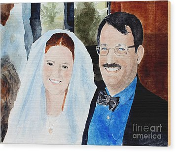 Emily And Jason Wood Print by Monte Toon