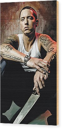Wood Print featuring the painting Eminem Artwork 1   by Sheraz A