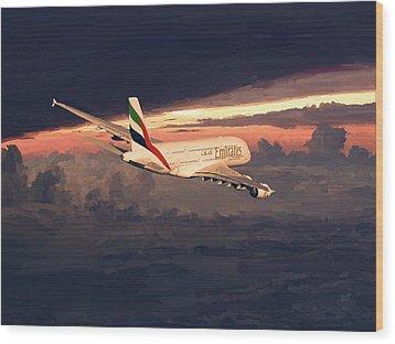 Emirates Airbus A380 Above Dubai Wood Print