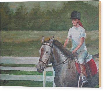 Emma Riding Wood Print by Julie Dalton Gourgues