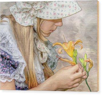 Emma With Flower Portrait Wood Print by Randy Steele