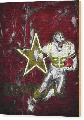 Wood Print featuring the photograph Emmitt Smith Nfl Dallas Cowboys Gold Digital Painting 22 by David Haskett