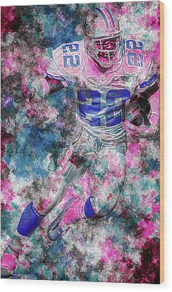 Wood Print featuring the photograph Emmitt Smith Nfl Football Painting Digital  Es22 One by David Haskett