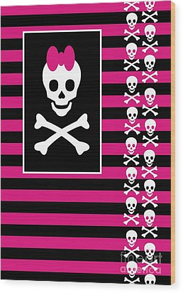 Emo Skull Princess Wood Print by Roseanne Jones