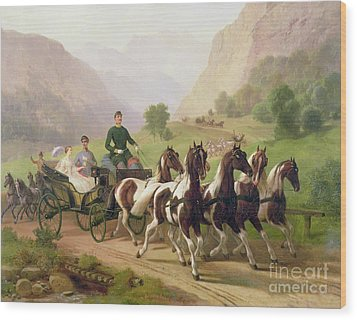 Emperor Franz Joseph I Of Austria Being Driven In His Carriage With His Wife Elizabeth Of Bavaria I Wood Print by Austrian School