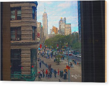 Wood Print featuring the photograph Empire State Building - Crackled View 2 by Madeline Ellis