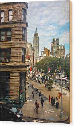 Wood Print featuring the photograph Empire State Building - Crackled View 3 by Madeline Ellis