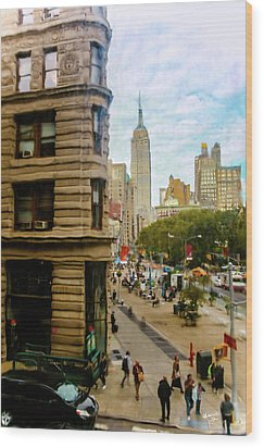 Wood Print featuring the photograph Empire State Building - Crackled View by Madeline Ellis