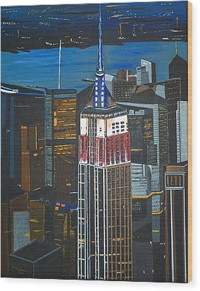 Empire State Wood Print by Donna Blossom