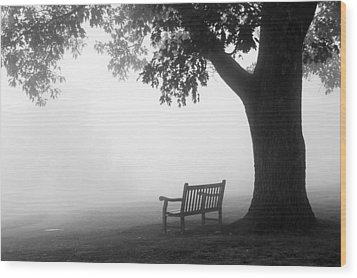 Empty Bench Wood Print by Monte Stevens