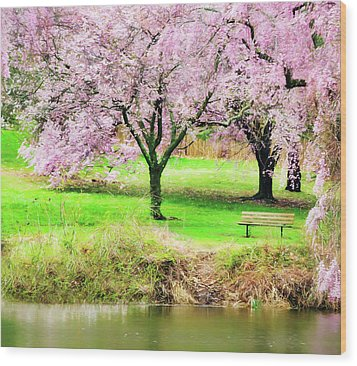 Wood Print featuring the photograph Empty Bench Surrounded By Spring Colors by Gary Slawsky
