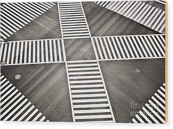 Empty Crosswalk Shibuya Crossing Wood Print by Bryan Mullennix