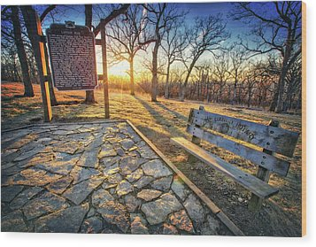 Wood Print featuring the photograph Empty Park Bench - Sunset At Lapham Peak by Jennifer Rondinelli Reilly - Fine Art Photography