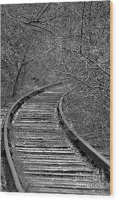 Wood Print featuring the photograph Empty Tracks by Juls Adams