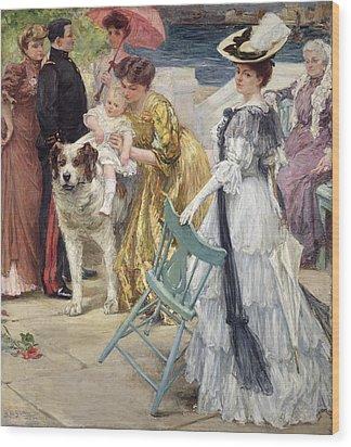 En Famille Wood Print by Gustave Grau