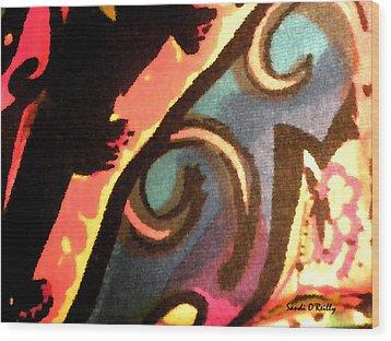 Wood Print featuring the mixed media En Joy Ll by Sandi OReilly