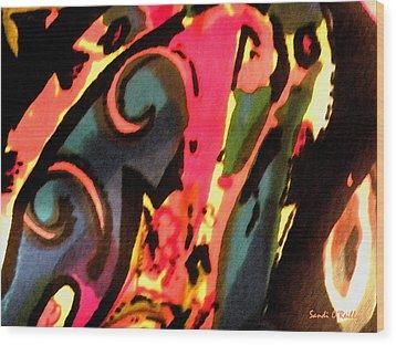 Wood Print featuring the mixed media En Joy by Sandi OReilly