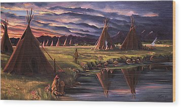 Wood Print featuring the painting Encampment At Dusk by Nancy Griswold