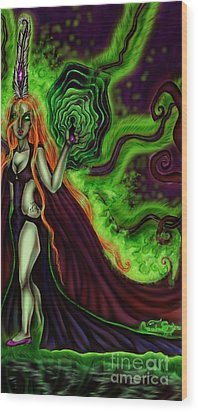 Enchanted By An Emerald Flame Wood Print by Coriander Shea