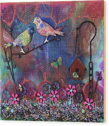 Enchanted Patchwork Wood Print by Donna Blackhall