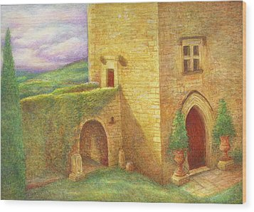 Enchanting Fairytale Chateau Landscape Wood Print by Judith Cheng