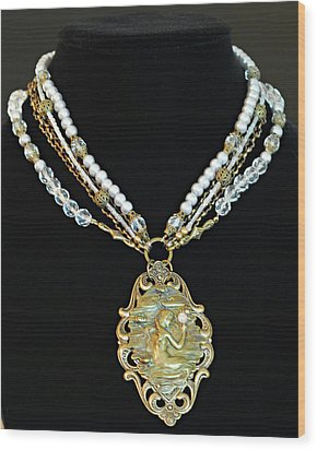 Enchanting Lady Choker Necklace Wood Print by Renee Hong