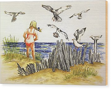 Encountering The Winged Ones Wood Print