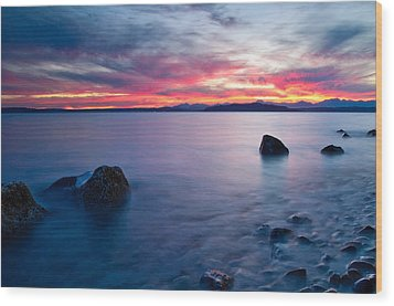 End Of Day At Alki Beach Wood Print