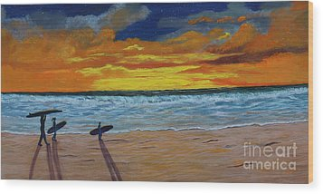 Wood Print featuring the painting End Of Day by Myrna Walsh